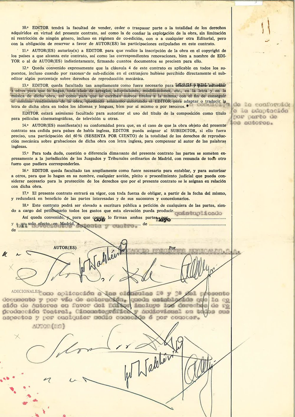 "Last page of the contract between Salvador Dali, Igor Wakhevitch, Vasquez Montalban with their signature as co-authors of ""Etre Dieu"""