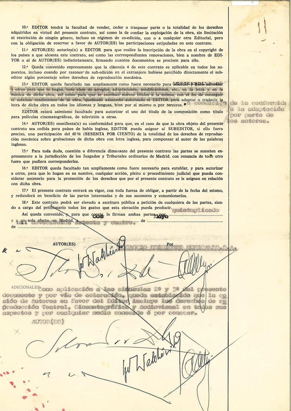 CONTRAT ÊTRE DIEU Signatures of Salvador Dali, Igor Wakhevitch, Vasquez Montalban. %22Etre Dieu%22 contract..jpg