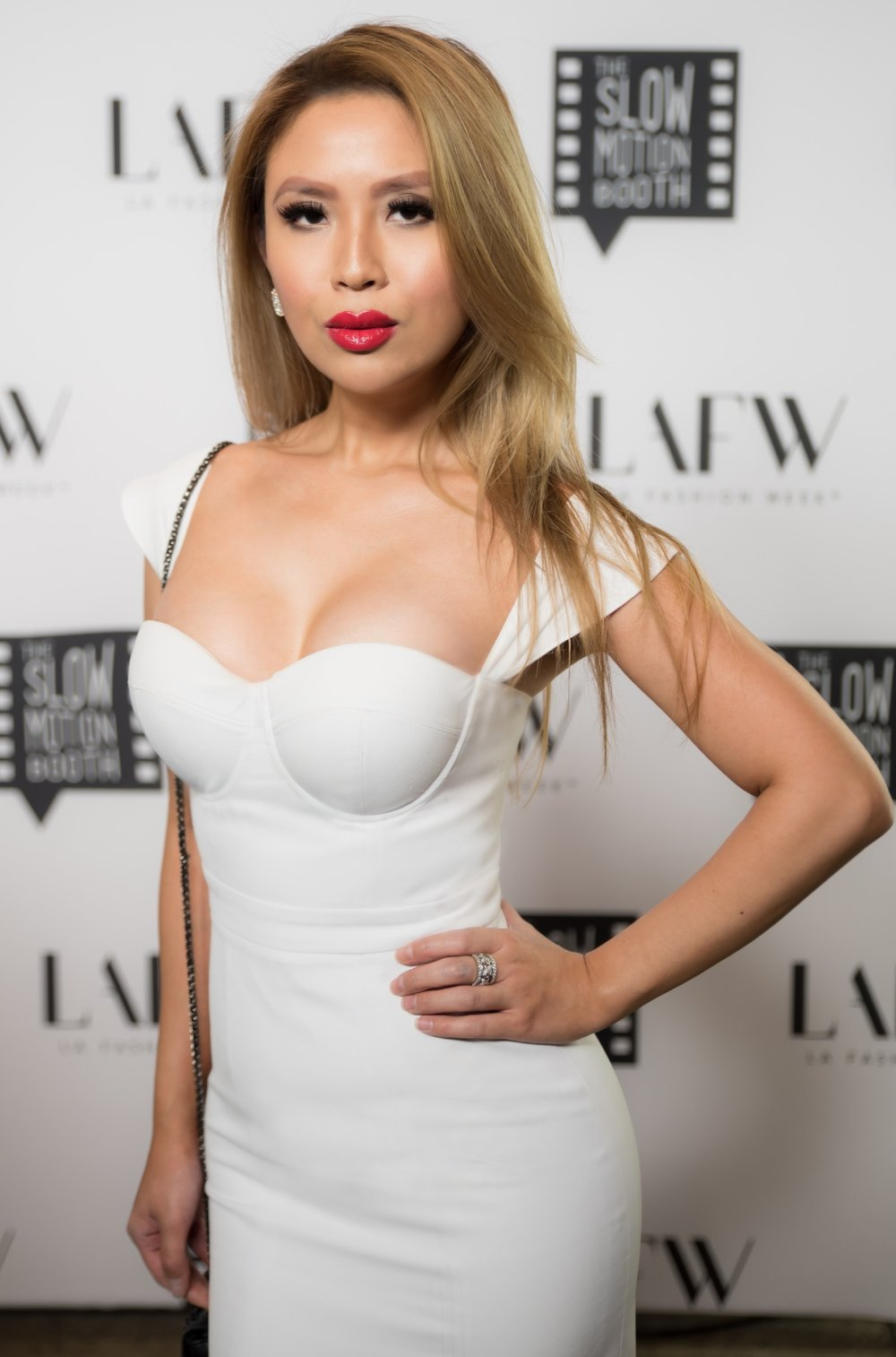 Yvon of  Yvon Lux  wearing  Christian Louboutin Beaute  and  Christian Louboutin  at LAFW. Photo credit:  Kait McKay Photography .