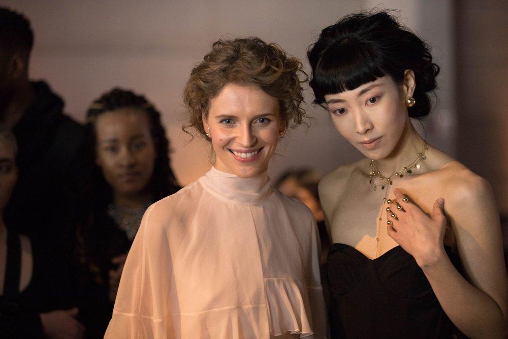 LAFW Guzema - fine jewelry Designer Valeriya Guzema and model.jpeg