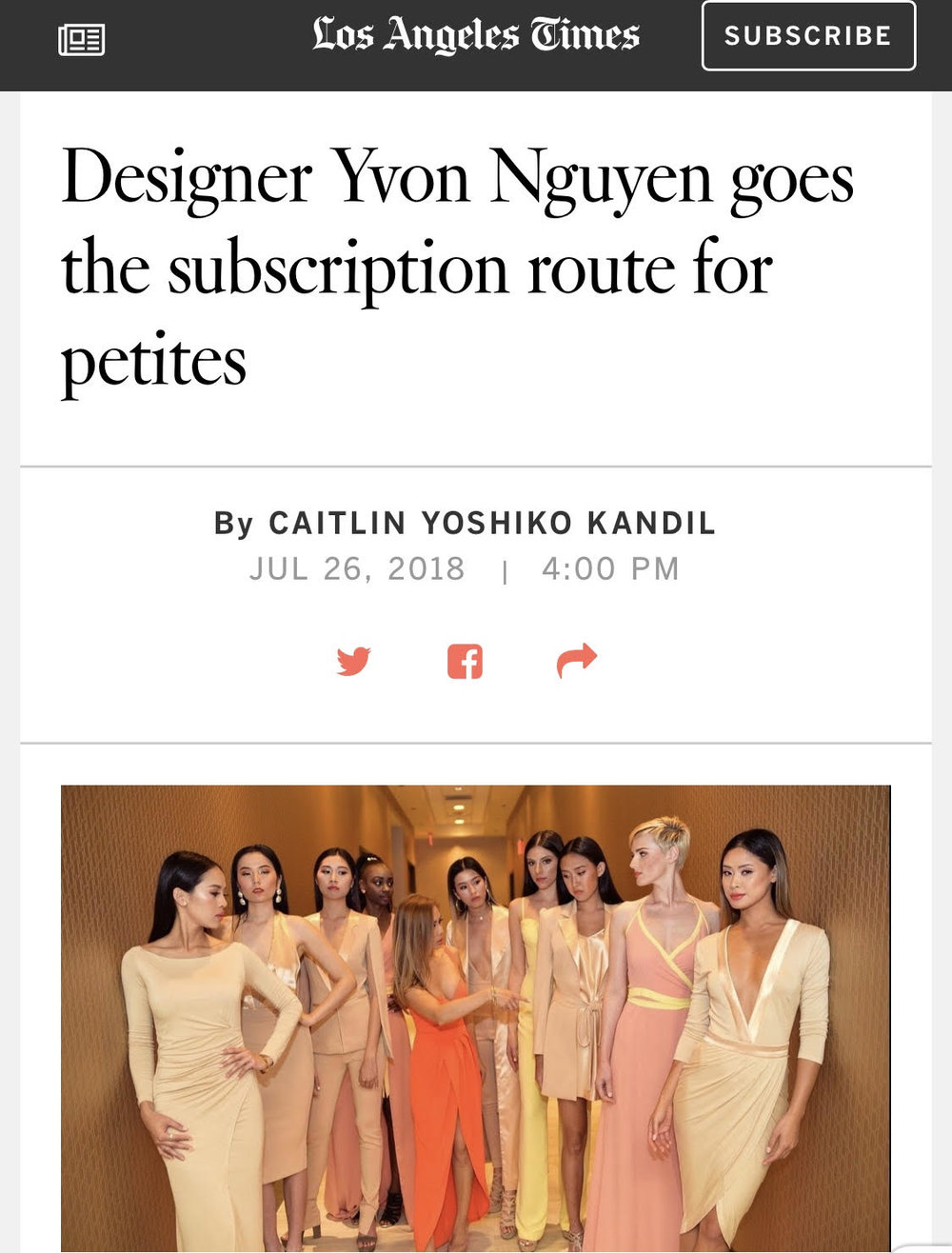 "LA Times - Now, Nguyen, who is entirely self-taught, is introducing a new venture — a subscription service for clients to receive individually designed and tailored pieces each month for a flat fee. While women's clothing subscriptions have become popular in recent years, Nguyen said that hers distinguishes itself in quality and personalization. Nothing is mass-produced, and everything is made-to-order with the specific client in mind.""We want to be the go-to for busy, successful women who can have their own stylist, their own designer, and not worry about having to spend hours at the mall,"" she said."