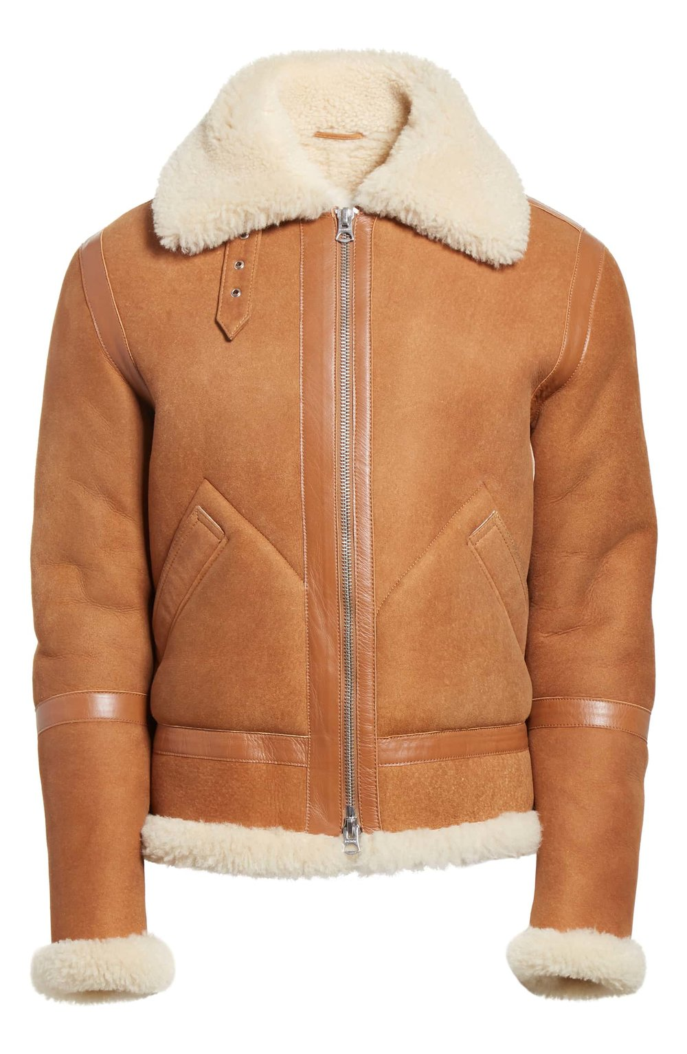 Acne Studios Tan Leather Shearling Bomber.jpeg