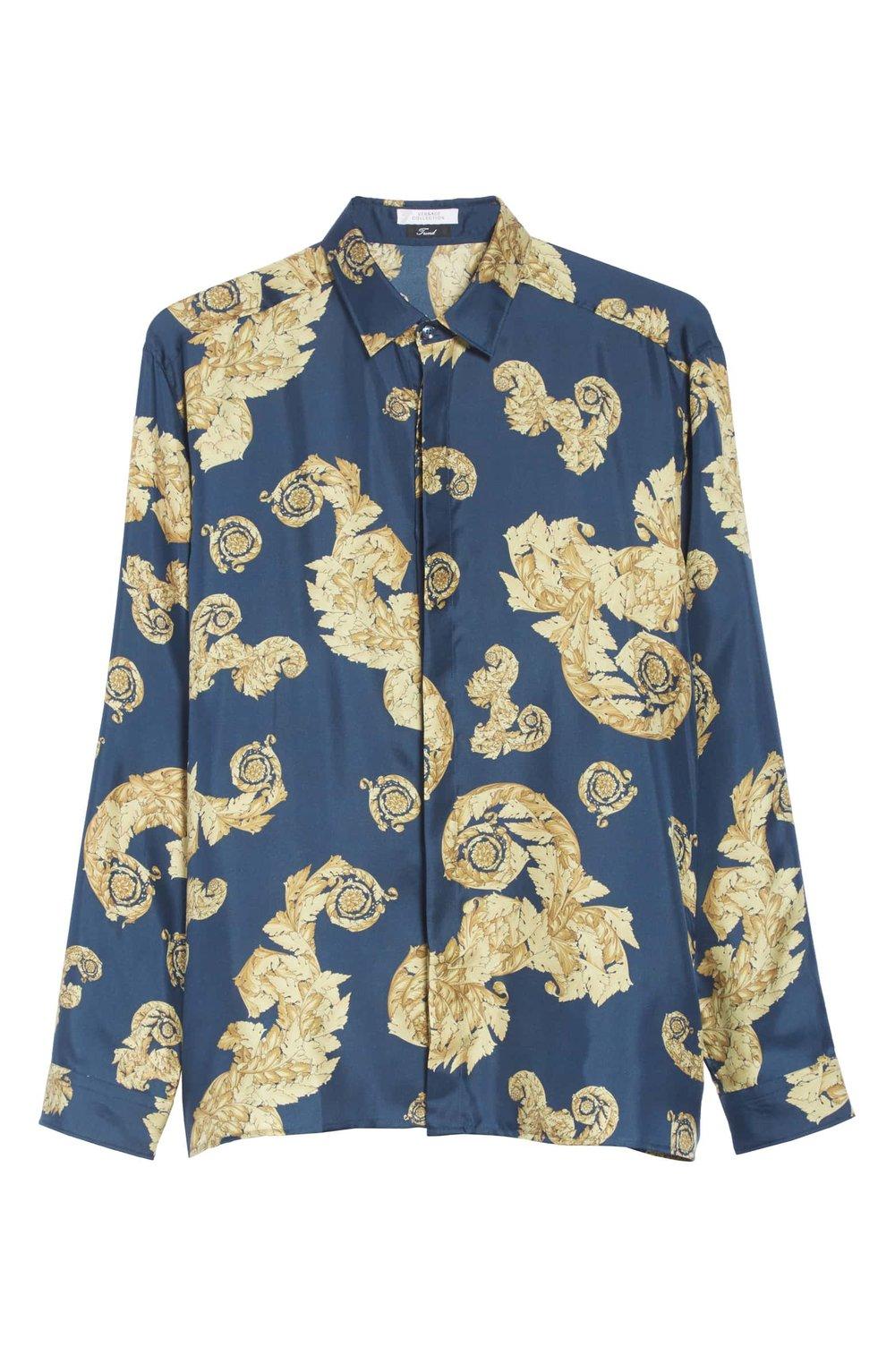 Versace Blue Gold Leaf Shirt.jpeg