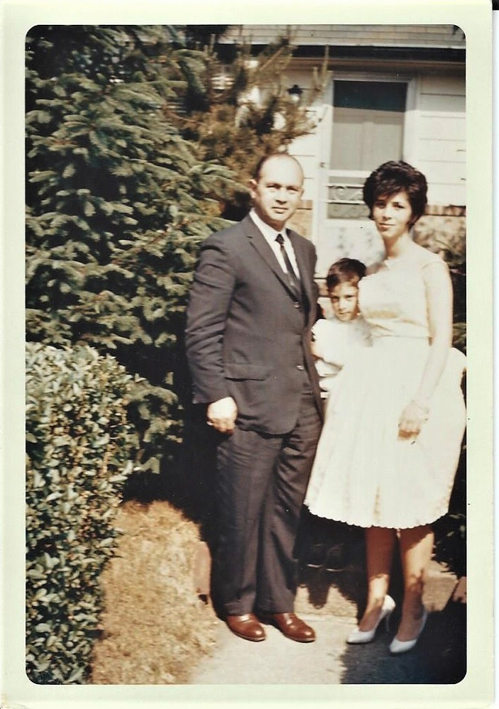 Robert, Ricky and Joan - Day of Joan's Sweet Sixteen, 1961 - 3 Cohill Road - Get a load of the shrubs.