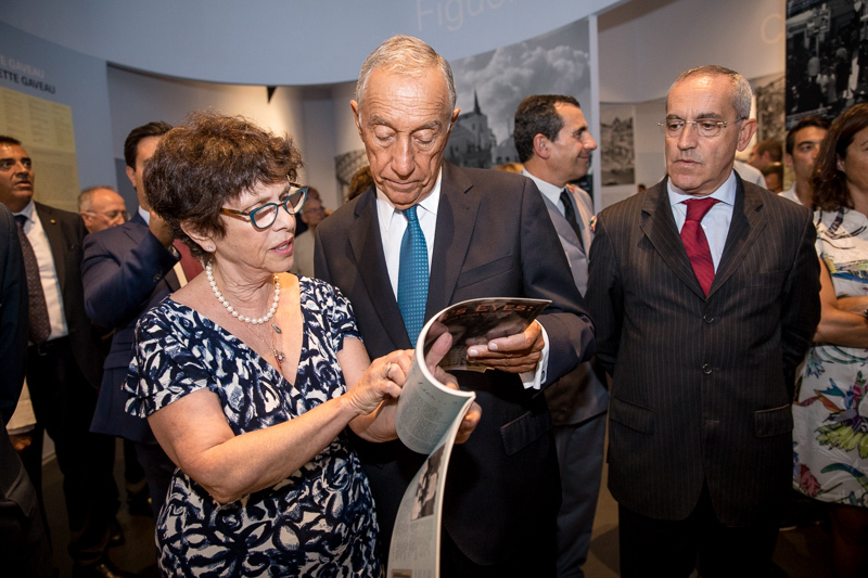 "Joan Arnay Halperin reading the section called,  "" Ici Repose ...Here Lies"".to President Marcelo Rebelo de Sousa at the Inauguration of the   Fronteira da Paz Museum , Vilar Formoso , Portugal, August 26, 2017."