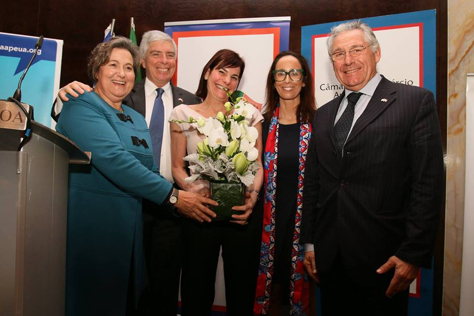 Mariana Abrantes (left) , elected Director of the ALC of Lisbon (and Treasurer of the SMF) with former US Amb. Robert A. Sherman (standing next to Mariana).