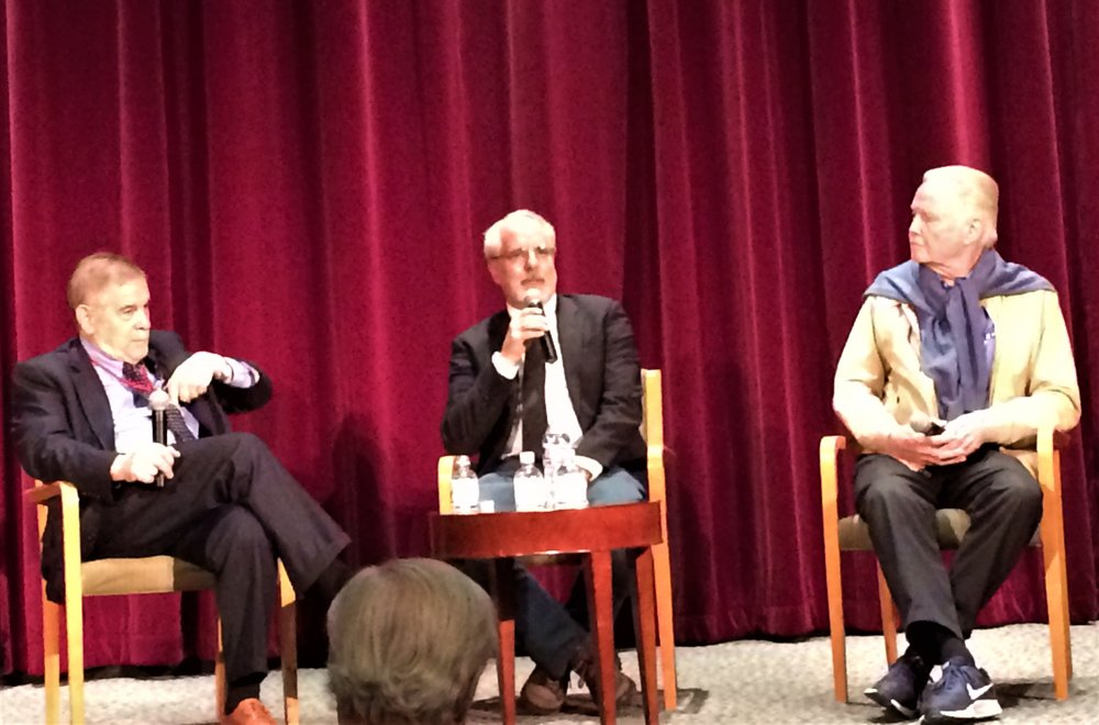 """Uprising"" Q & A with Dr. Michael Berenbaum (l.), director Jon Avnet (c.) and actor Jon Voight. Voight, who plays a Nazi commander in this film. Voight, a man who loves #Israel. explains how his deep appreciation of the Jewish peole came about."