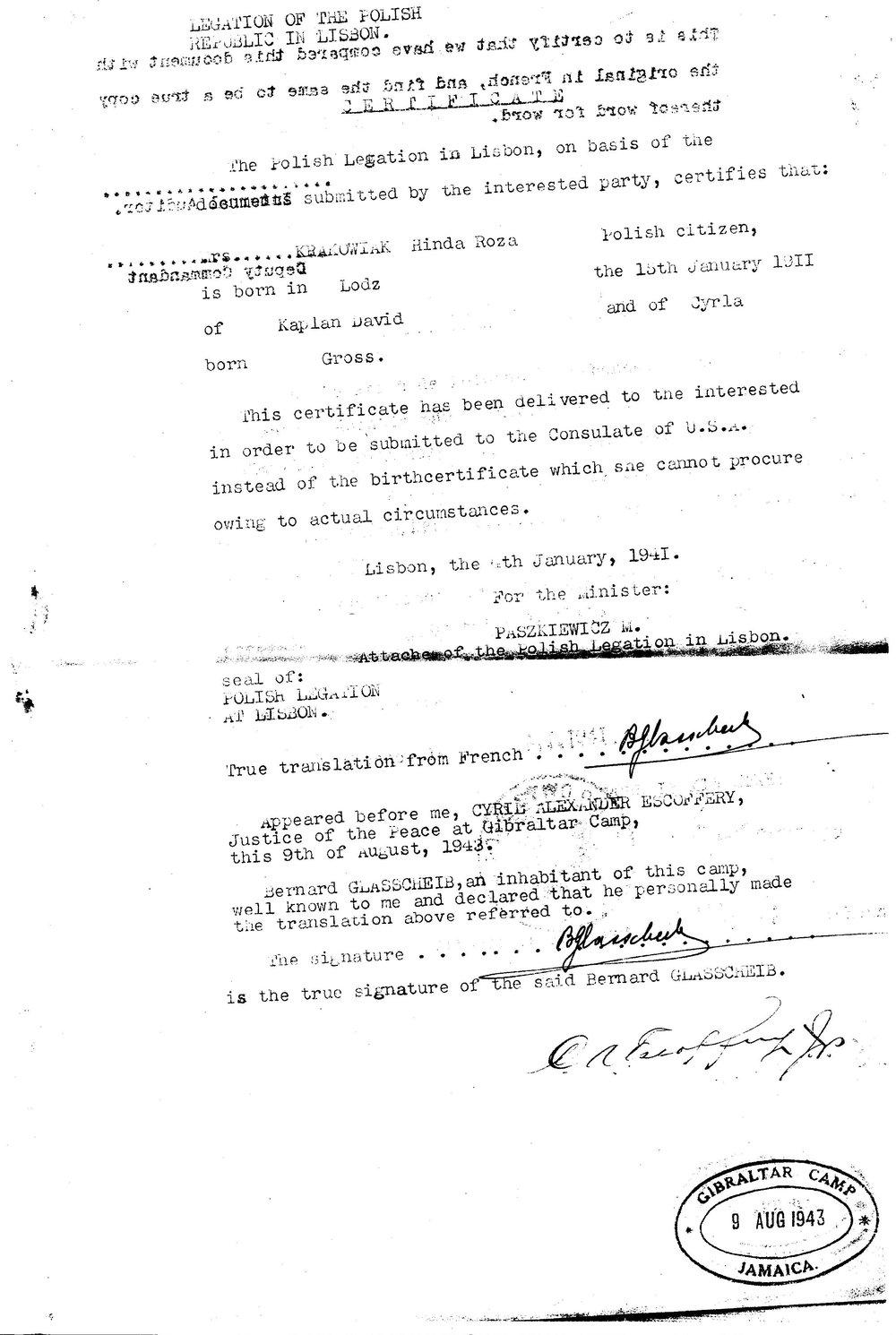Document 2.b Certificate in Lieu of Birth Certificate (translation)