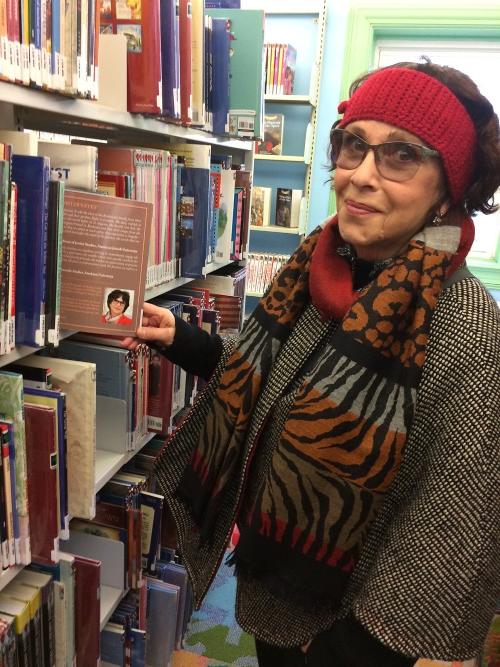 My Sister's Eyes - Hillsdale Library - Holocaust section - Author in the stacks2.JPG