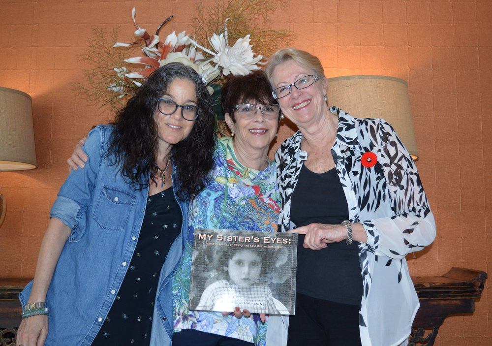 L to R: Amy, Joan and Margaret with Joan's book   My Sister's Eyes,   a tribute to Joan's sister Yvonne (pictured on the cover).