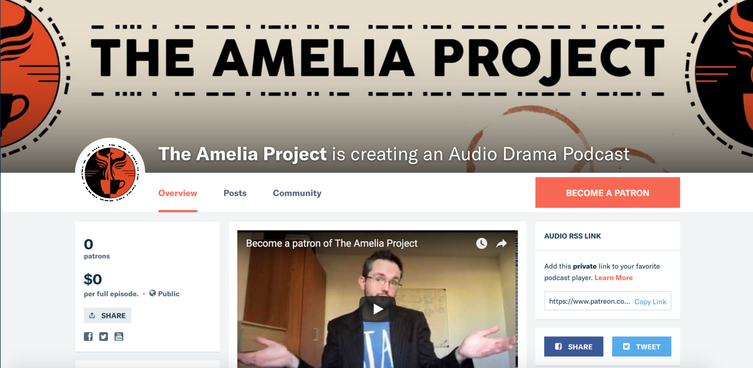 We're on Patreon — The Amelia Project