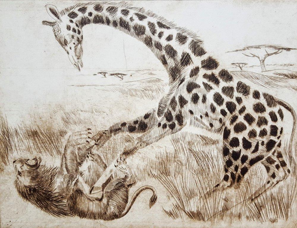 Giraffe gegen Löwe / Giraffe Against Lion (Original)