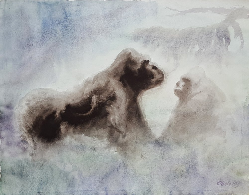 Begegnung / Gorilla Family in the Mist
