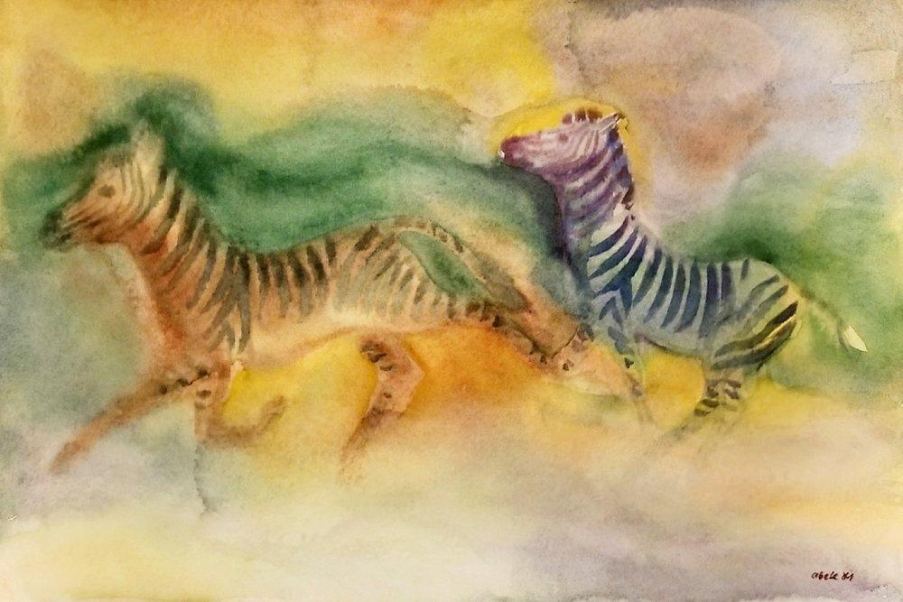 Zwei Zebras im Abendlicht / Two Zebras at Dusk