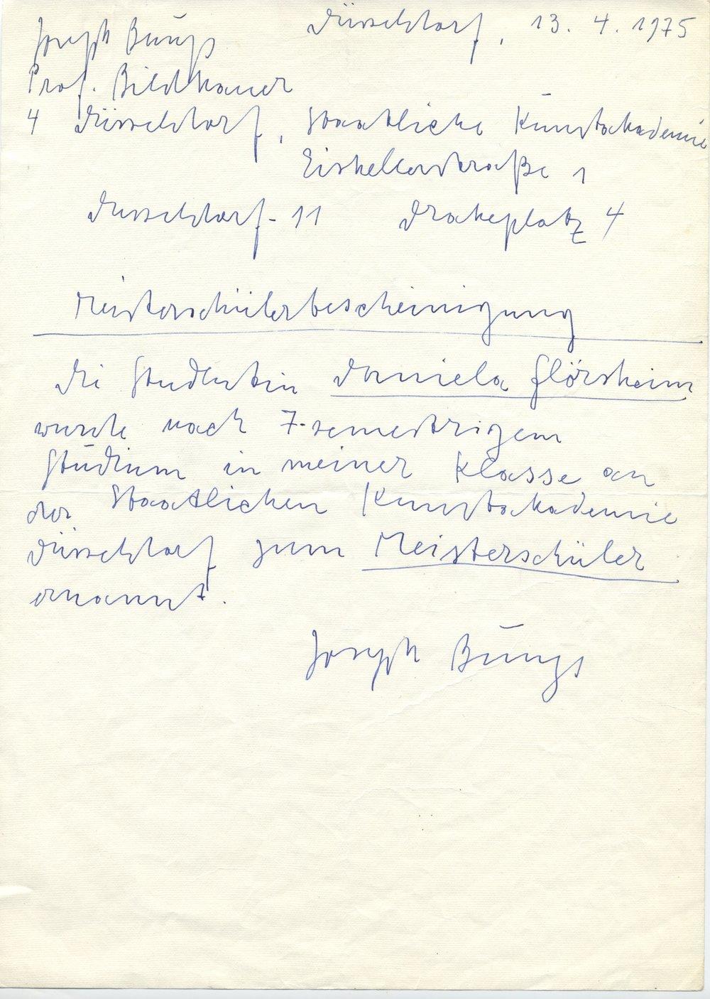 Masterbrief von Joseph Beuys