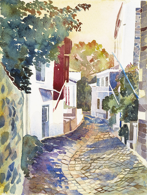 molyvos street at sunset by ann welch.JPG
