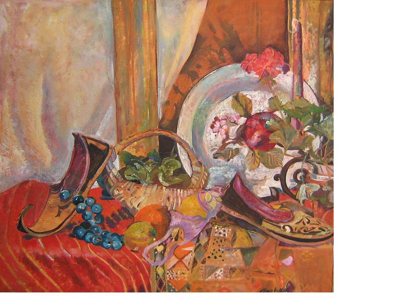 still life with slippers by ann welch.JPG