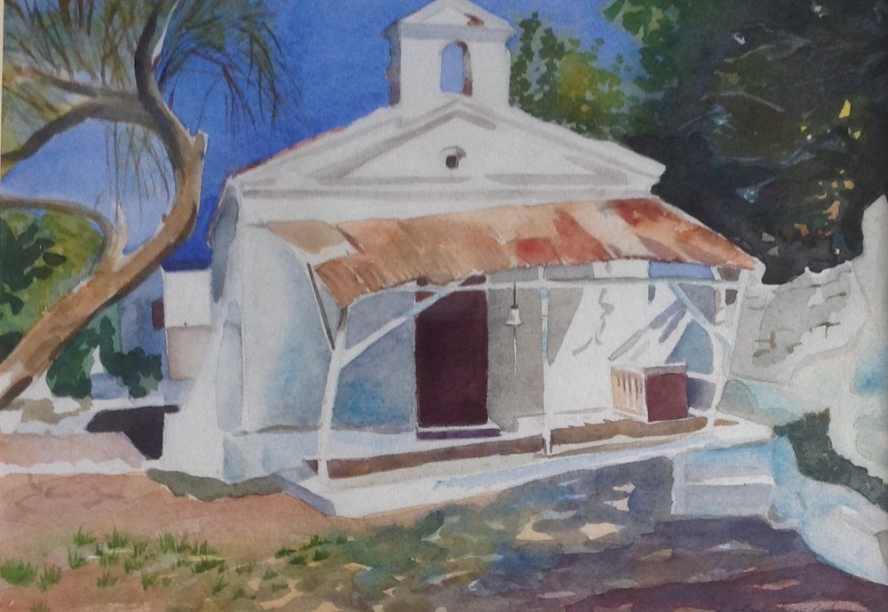 the church by the castle mytilene water colour by ann welch.jpg