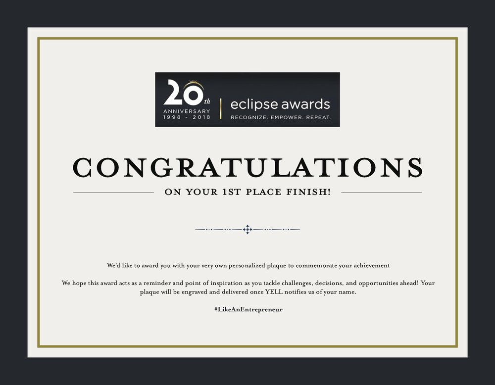 1st Place - The Eclipse Awards will provide the winning team with their very own personalized plaque to commemorate their achievement