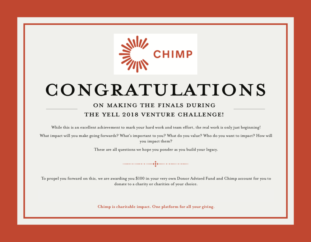 Finalists - Chimp will award each finalist with a $100 voucher to gift to the charity of their choice.