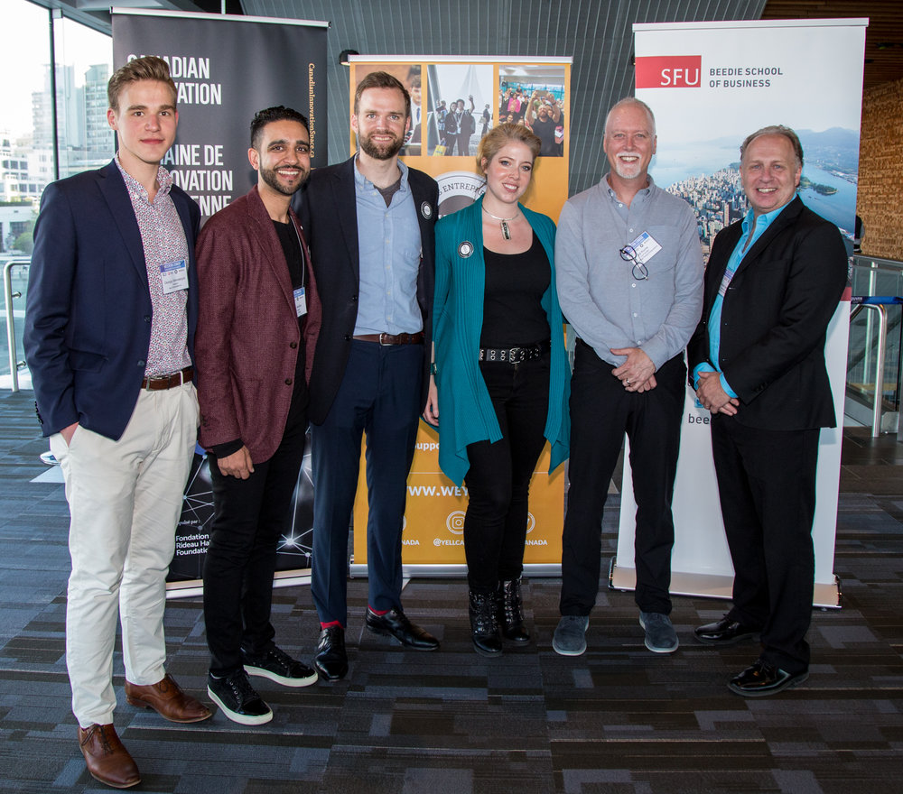 From left to right:     Georgiy Sekretaryuk (Youth Ambassador at YELL), Amit Sandhu (Co-Founder of YELL), David Cameron (Executive Director at YELL), Sarah Lubik (Director of Entrepreneurship at SFU), Bill Roche (Co-Founder of PowerPlay Young Entrepreneurs), Andrew Gemino (Associate Dean, Graduate Programs at SFU Beedie).