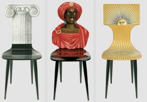 Fornasetti, chaises Ionique Capitello, Moor et Sun, 1955
