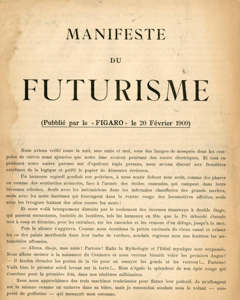 Manifeste du Futurisme publié le 20 février 1909 dans le Figaro