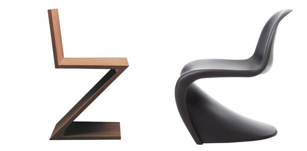 De la ZigZag chair de Gerrit Rietveld (série Cassina I Maestri) à la Panton Chair de Verner Panton