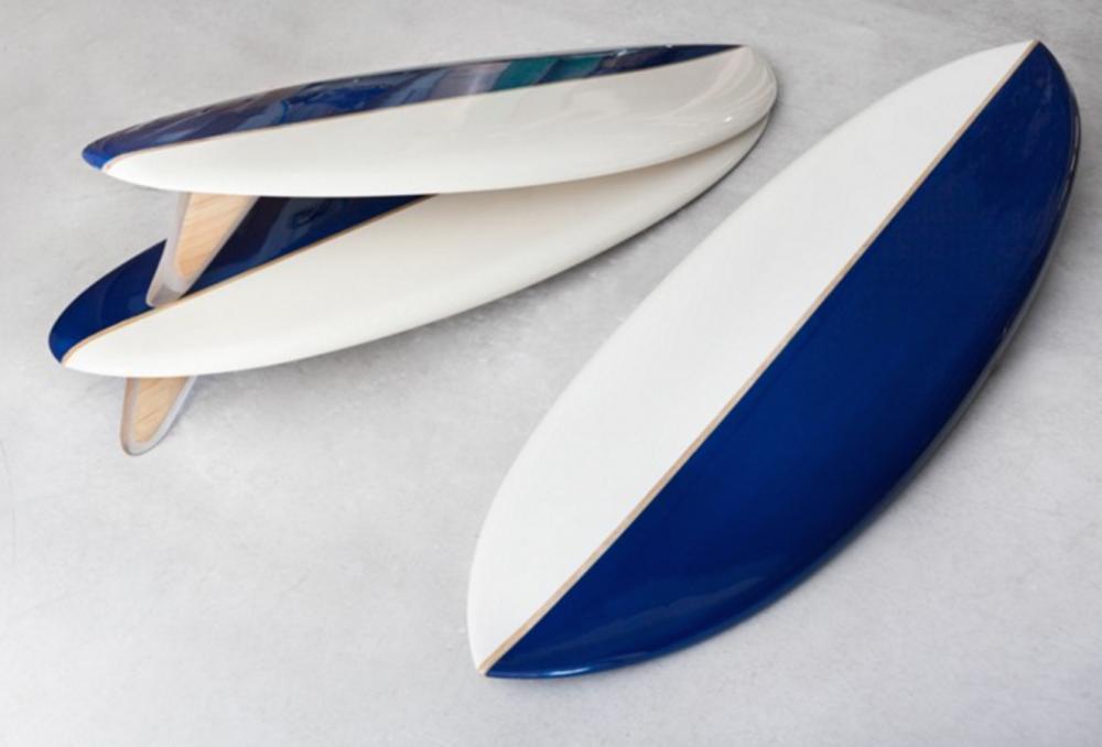 Studio Joran Briand, Quiver Mola, fabriqué par Guethary Surfboard, Résine et chêne