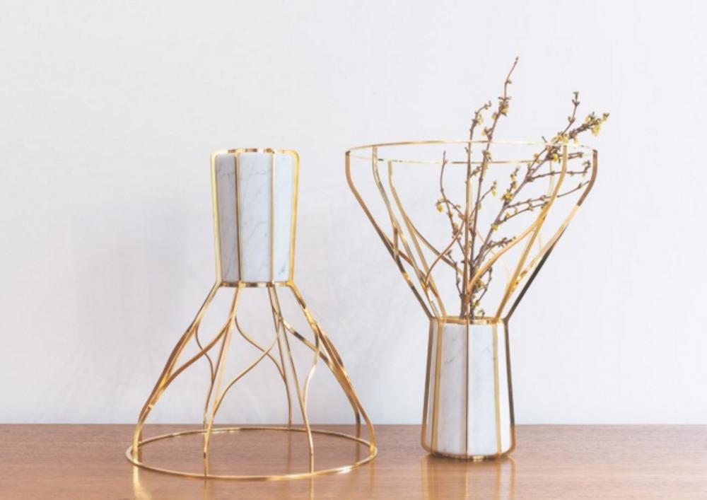 Studio Joran Briand, Vase Acropora, Marbre et laiton