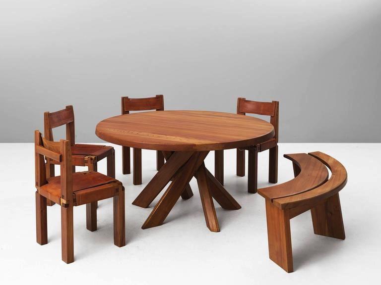 Salle à manger en pin et cuir, Pierre Chapo, 1960 ©1stdibs