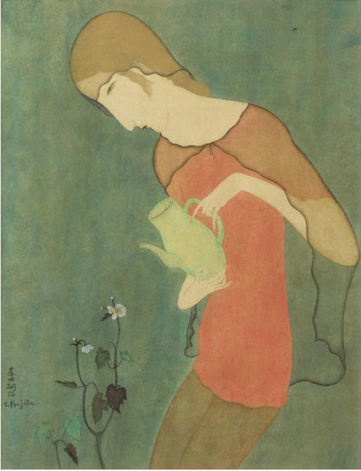 Tsuguharu Foujita,JEUNE FEMME ARROSANT DES FLEURS, CIRCA 1917