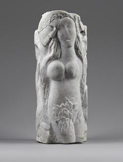 Marc Chagall, Deux nus ou Adam et Eve ou Sculpture-colonne, 1953, marbre