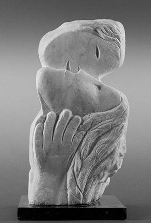 Marc Chagall, Deux têtes, une main, 1954, marbre