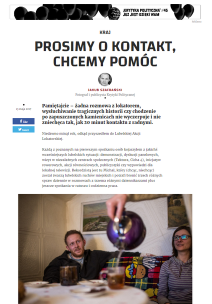 Click to view a full story reportage published in Krytyka Polityczna opinion daily (in Polish) -
