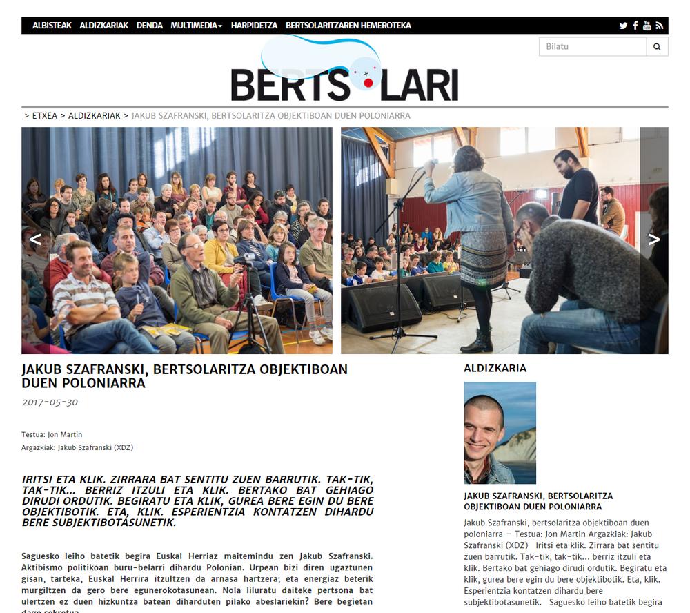 Interview in Basque periodic - Wywiad ze mną w baskijskim czasopiśmie