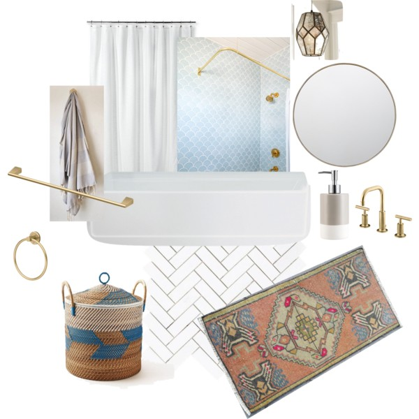 Option 2 - sophisticated tile - subway in a herringbone layout + a gorgeous fish scale ogee drop from Fireclay, layered with cozy textiles.  I know Heidi loves the Fireclay tile - despite it being on the more expensive side - so I ordered in 4 different clay bodies/glazes for her to check out.