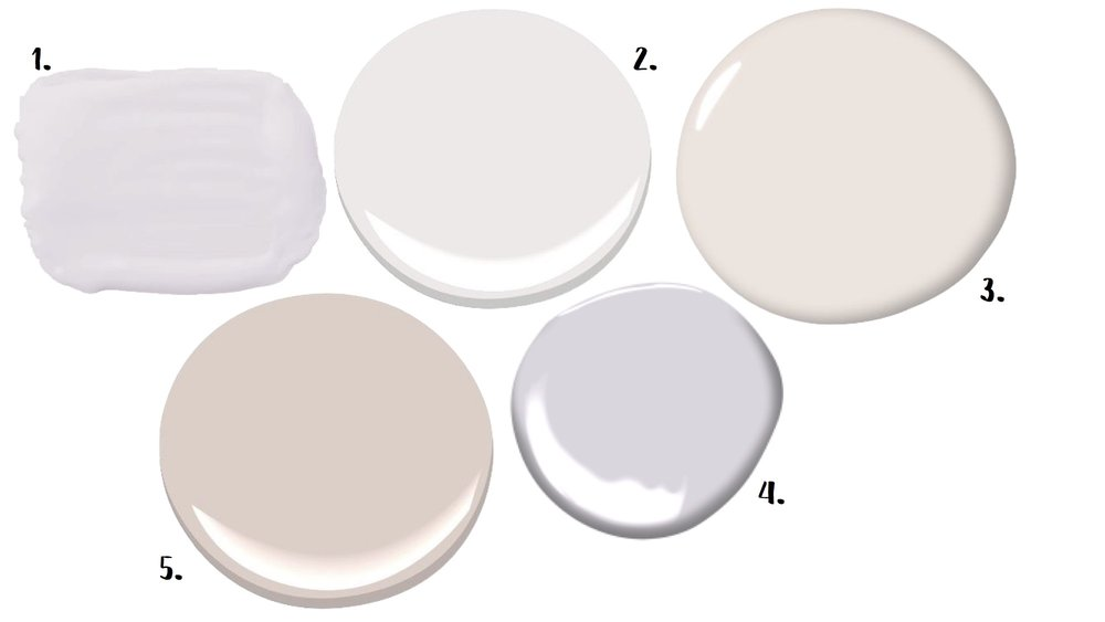 1. Opulent Opal (Behr) 2. Oyster (Benjamin Moore) 3. Spooled White (Dunn-Edwards) 4. Touch of Gray (Benjamin Moore) 5. Morristown (Benjamin Moore)