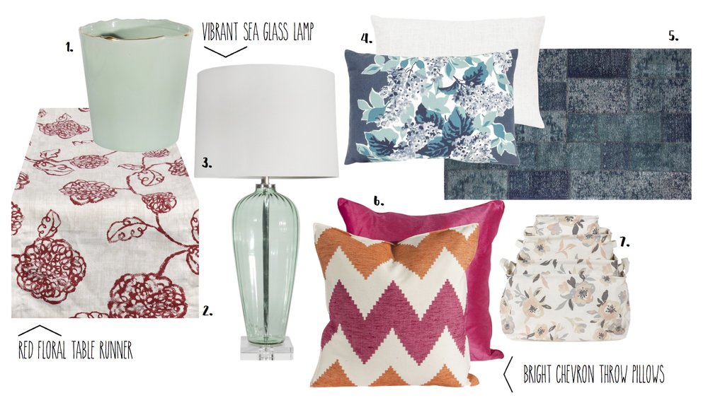 1 . Mint Vase with Gold Painted Rim - $28.95  2 . Floral Runner - $39.00  3.  Sea Glass Lamp - $189.95  4 . Blue Floral Pillow - $68.95  5.  Blue Rug - $225.95  6 .Chevron Pillow - $76.95  7.  Floral Baskets - $44.95