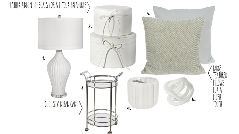 1.  Lamp - $312.95  2.  Leather Boxes - 73.95  3.  Silver Bar Cart - $689.95  4.  White Vase - $29.95  5.  Pillow - $94.95  6.  Glass Knot - $14.95
