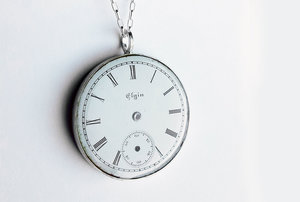 Watch parts jewelry art925 naomi rachel muirhead jewelry elgin watch face pendant white aloadofball Gallery