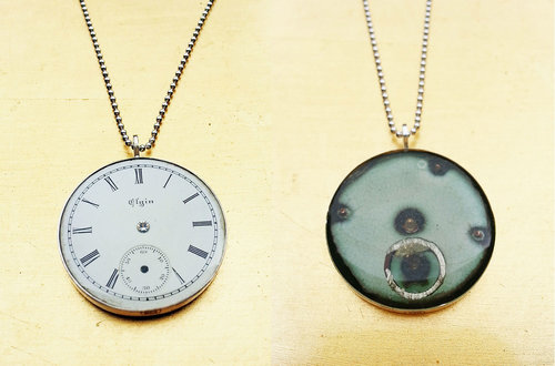 Watch parts jewelry art925 naomi rachel muirhead jewelry reversible elgin watch face pendant aloadofball Gallery