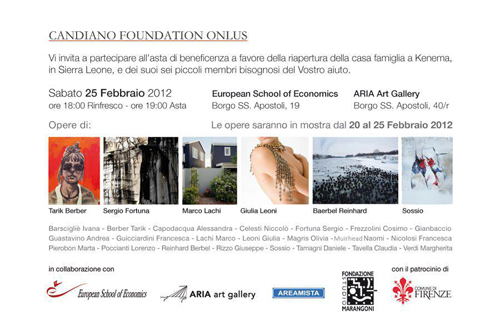 Candiano Foundation Art Auction & Benefit for Sierra Leone   Aria Gallery, Florence, Italy  February 20-25, 2012