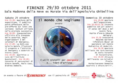 F-utili Gioielli per Emergency: Jewelry Auction & Benefit for Emergency  Sala Madonna della Neve, ex-Murate, Florence, Italy  October 29-30, 2011