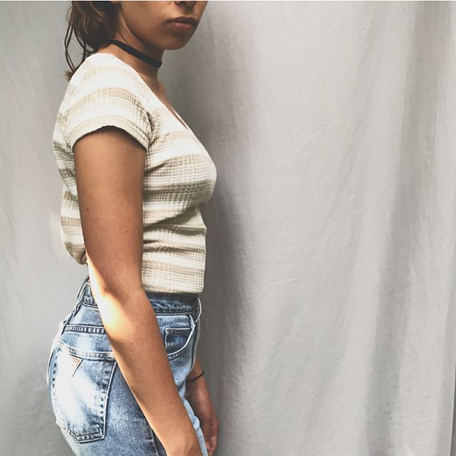 Vintage 90s striped top fits small-med (pinned back in pic) $28 +shipping / vintage Guess Jeans size 27 - light stonewashed - great condition worn in -$58 +shipping #90sfashion #vintagefashion #vintage #clothing #90s #modern #wear #womenfashion #guessjeans #fashiondetails