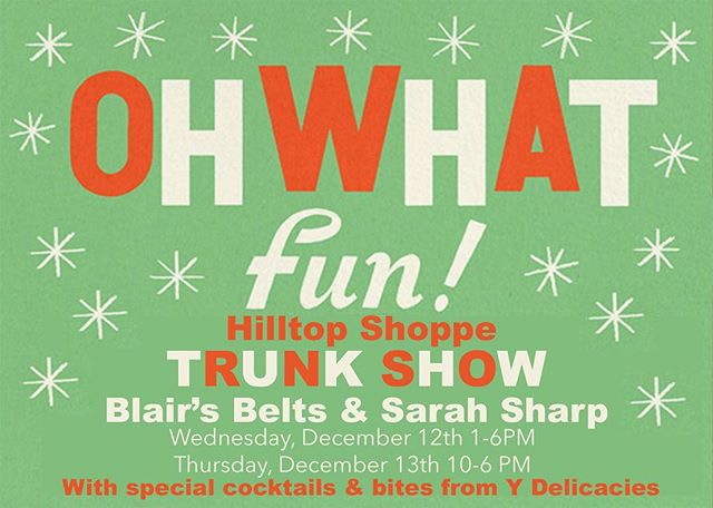 TOMORROW! TOMORROW! TOMORROW! We cannot wait to have @blairsbelts and @shopsarahsharp in the Shoppe. Spread the word to friends and family for great Christmas gifts!