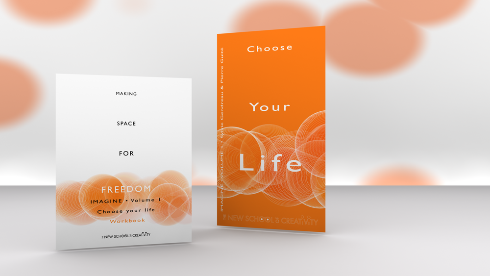 CHOOSE YOUR LIFE , IMAGINE-ZINE, VOLUME 1 IS WRITTEN AND DESIGNED BY SYLVIE GENDREAU AND PIERRE GUITÉ, CO-FOUNDER OF THE NEW SCHOOL OF CREATIVITY