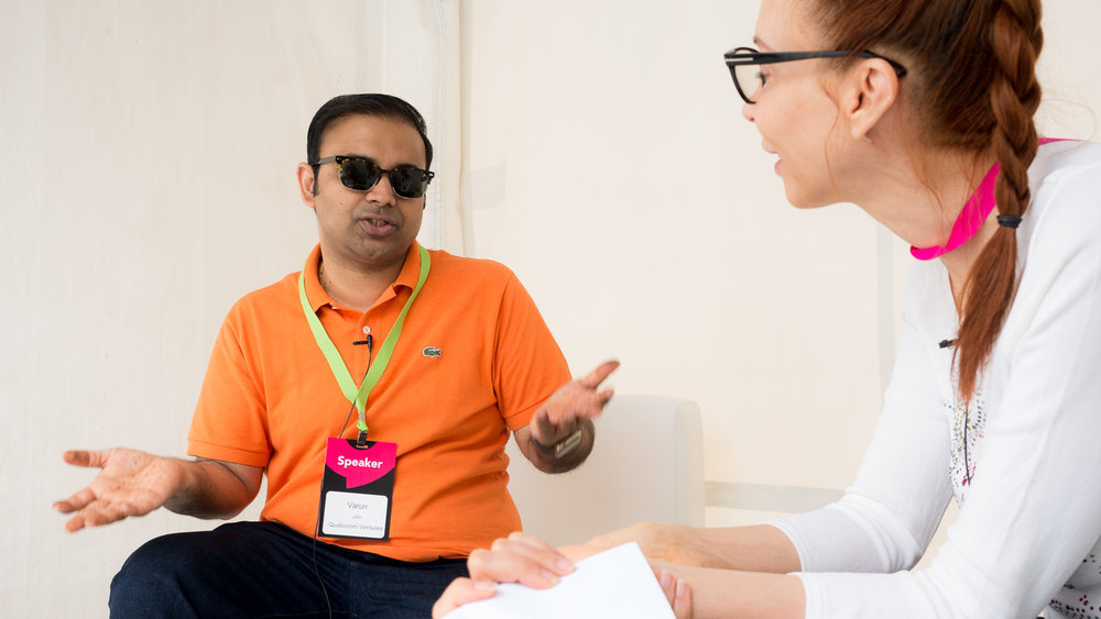 Varun Jain interviewed by Sylvie Gendreau during Startupfest in Montreal for They Make Me Smarter