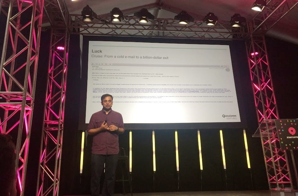 Varun Jain during his talk at Startupfest 2017 showing the first email sent to the co-founder Cruise Automation