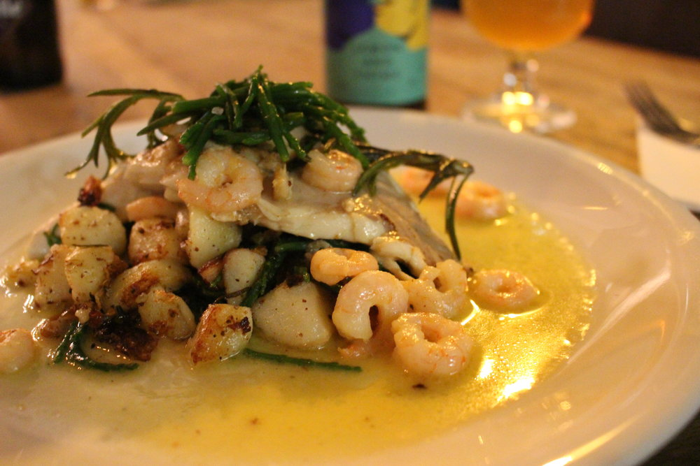 Beerstro's  Pan fried sea bass with a shrimp & saison butter, pan fried potatoes & samphire